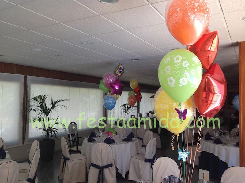 decoración con globos para comuniones